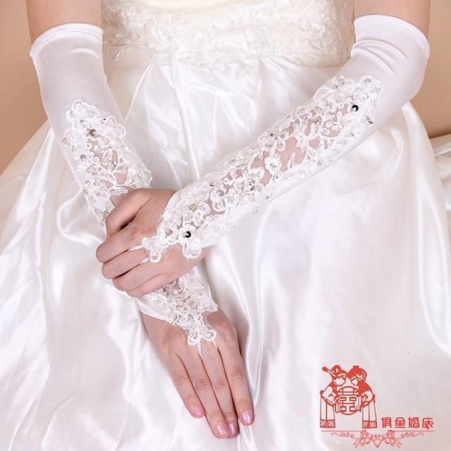 Marfim Apliques Contas de Cristal Laço De Cetim Longo Luvas Longas Luvas de Casamento Das Noivas BG058 Marfim Simples Acessórios De Noiva Preço Barato