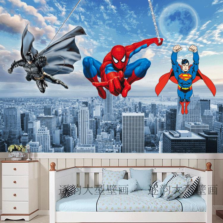 free shipping spider man superman batman custom wallpaper mural 3d stereo background poster. Black Bedroom Furniture Sets. Home Design Ideas
