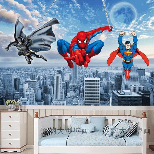 Free Shipping Spider Man Superman Batman Custom Wallpaper Mural 3d