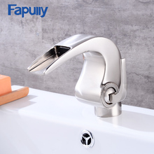 Fapully luxury brass bathroom basin faucet set,Nickel Brush