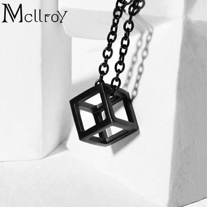 Mcllroy Cube Charm Necklace Silver Geometric Jewelry Cube Necklace Men Punk Vintage Jewelry Box Pendant Necklace for men collare