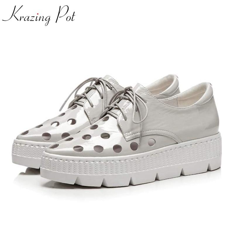 Krazing pot/обувь из натуральной кожи на среднем каблуке с острым носком великолепные летние полые Дизайн Мода на шнуровке удобные Вулканизиров...