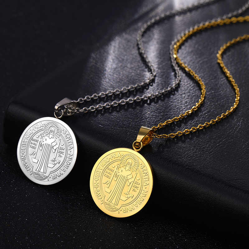 San Benito Medal Pendant St. Benedict Gold Color Stainless Steel Jesus Pendants & Necklaces For Religious Jewelry Medallion Gift