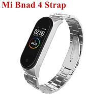 Mi Band 4 Strap Screwless Stainless Steel Bracelet Smart my miband Replace Accessories black For Xiaomi band