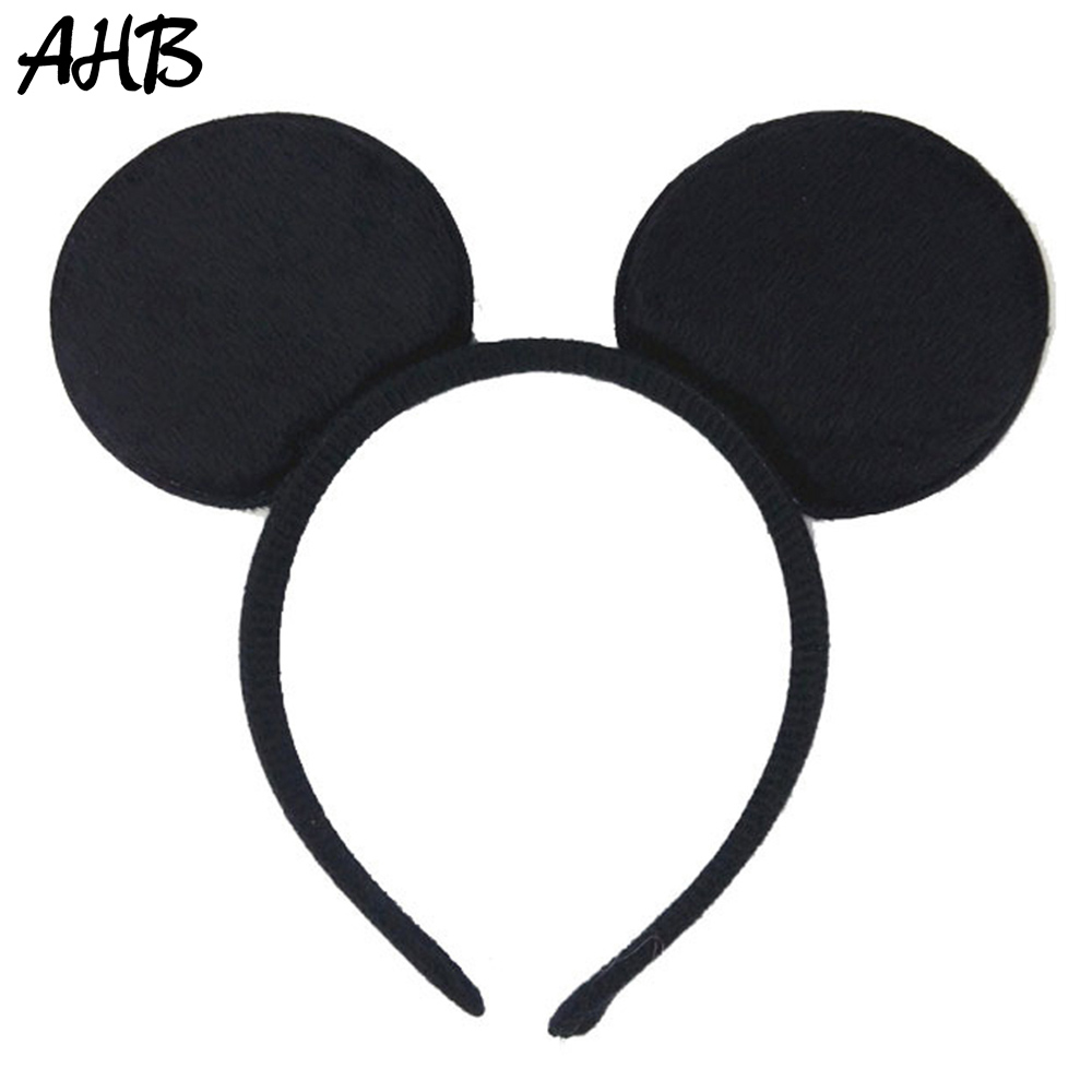 AHB Black Mouse Ears Hairbands for Girls Handmade Solid Hair Hoop Cute Holiday Photography Props Headband Kids Hair Accessories