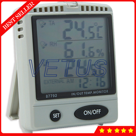AZ87792 Desktop Temp Humidity Monitor With Alarm Function IN / OUT Temp. & RH% monitor outdoor testing probe temp