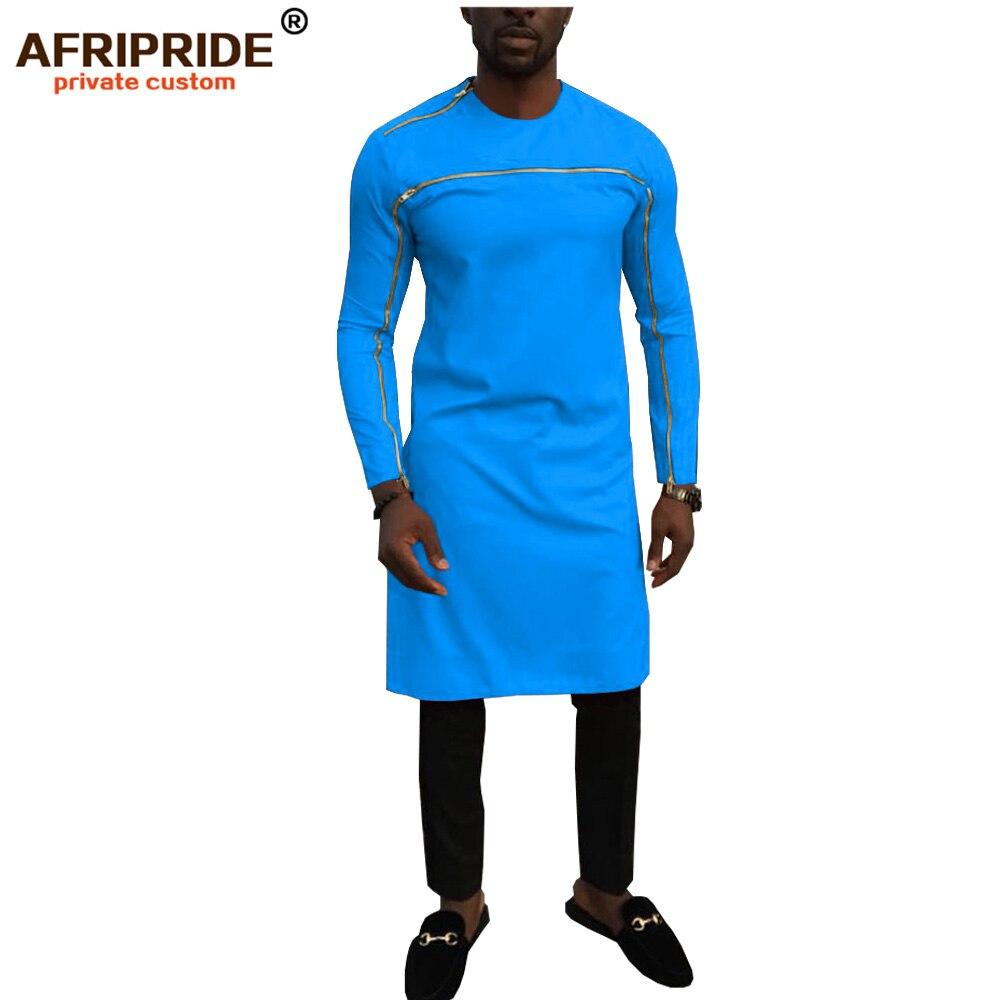 2019 africain dashiki vêtements pour hommes ankara top imprimé longs manteaux colorés couleur Pure hommes robes bazin riche AFRIPEIDE A1914003