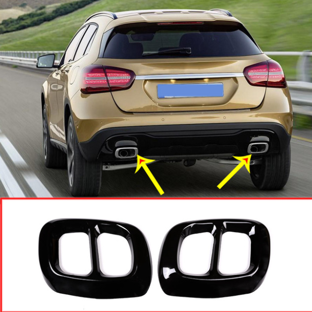 2pcs Glossy Black Stainless Steel For Mercedes Benz GLA