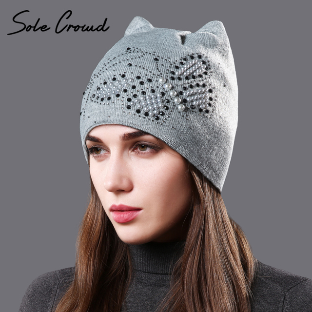 1b33d7aedb Sole Crowd Double layer velvet winter warm hat cute cat ears caps for  women's with butterfly