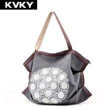 KVKY брендовая Холщовая Сумка, модные женские сумки, большая вместительность, повседневные женские сумки, вместительные сумки, женские дорожные сумки на плечо, Bolsa Feminina