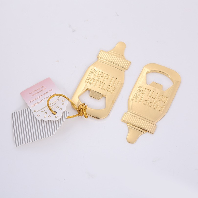 Baby Bottle Design Gold Bottle Opener With Simple Package Newborn Christening Party Giveaways Baby Shower Favors   10PCS
