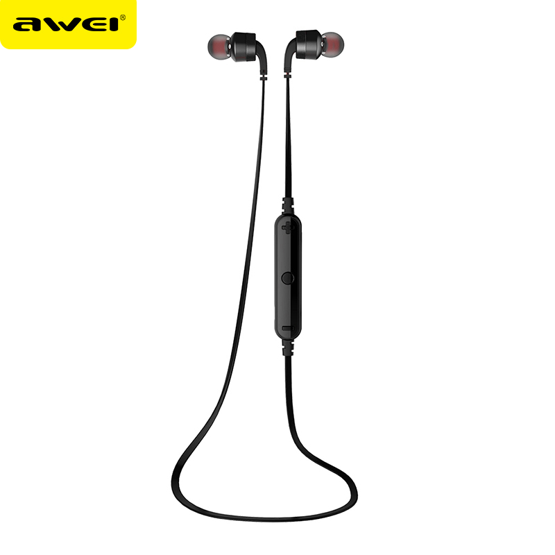 AWEI A960BL Bluetooth Headphone With Mic Sports Running Wireless Earphone Handsfree Music Calling Headset For iPhone Android new dacom carkit mini bluetooth headset wireless earphone mic with usb car charger for iphone airpods android huawei smartphone