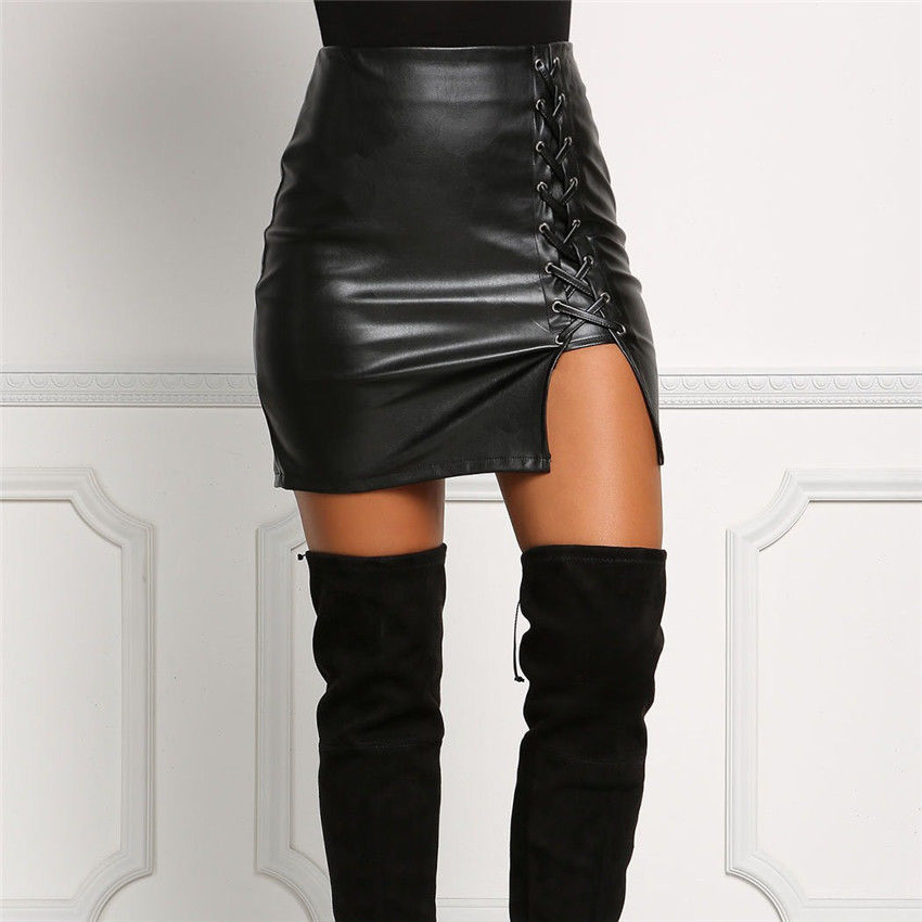 Autumn Hot New Womens Sexy Bandage Leather Skirt High Waist Lace Up Pencil Bodycon Stretch Short Mini Skirt