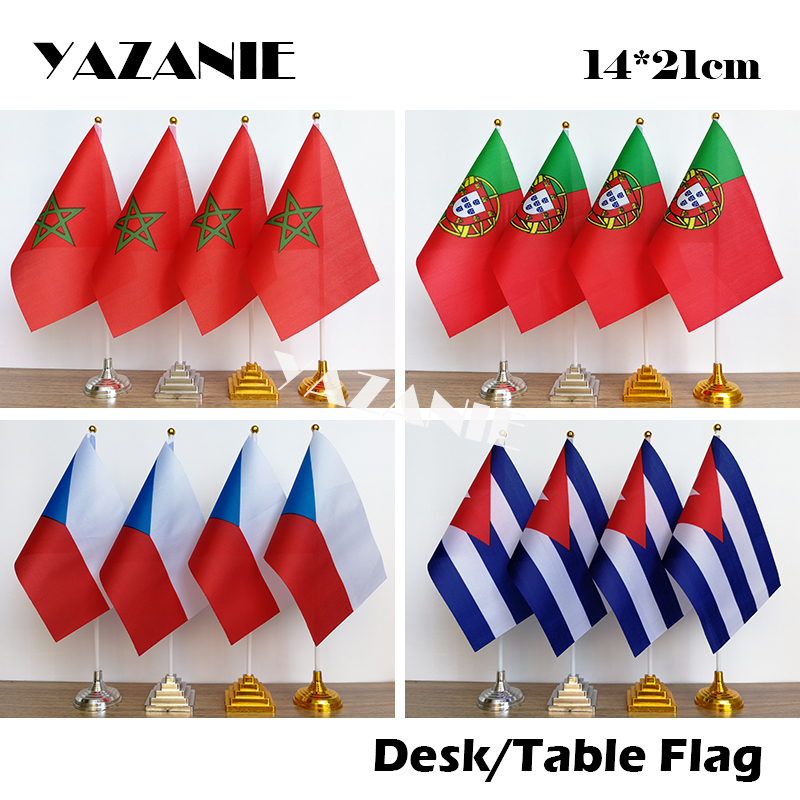 Yazcap bandeira de escritório 14*21cm, marrocos, escritório, bandeira portugal, mesa, república checa, cuba, sinal de bandeira com flagpole de plástico e base
