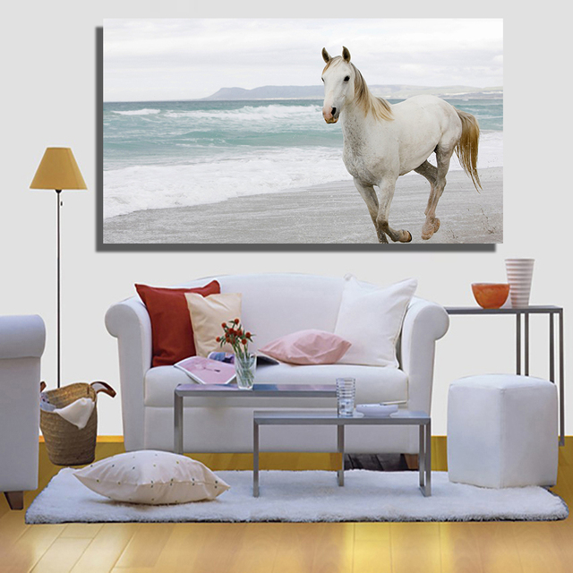 QKART Pop Art White Horse Wall Pictures for Living Room Office ...
