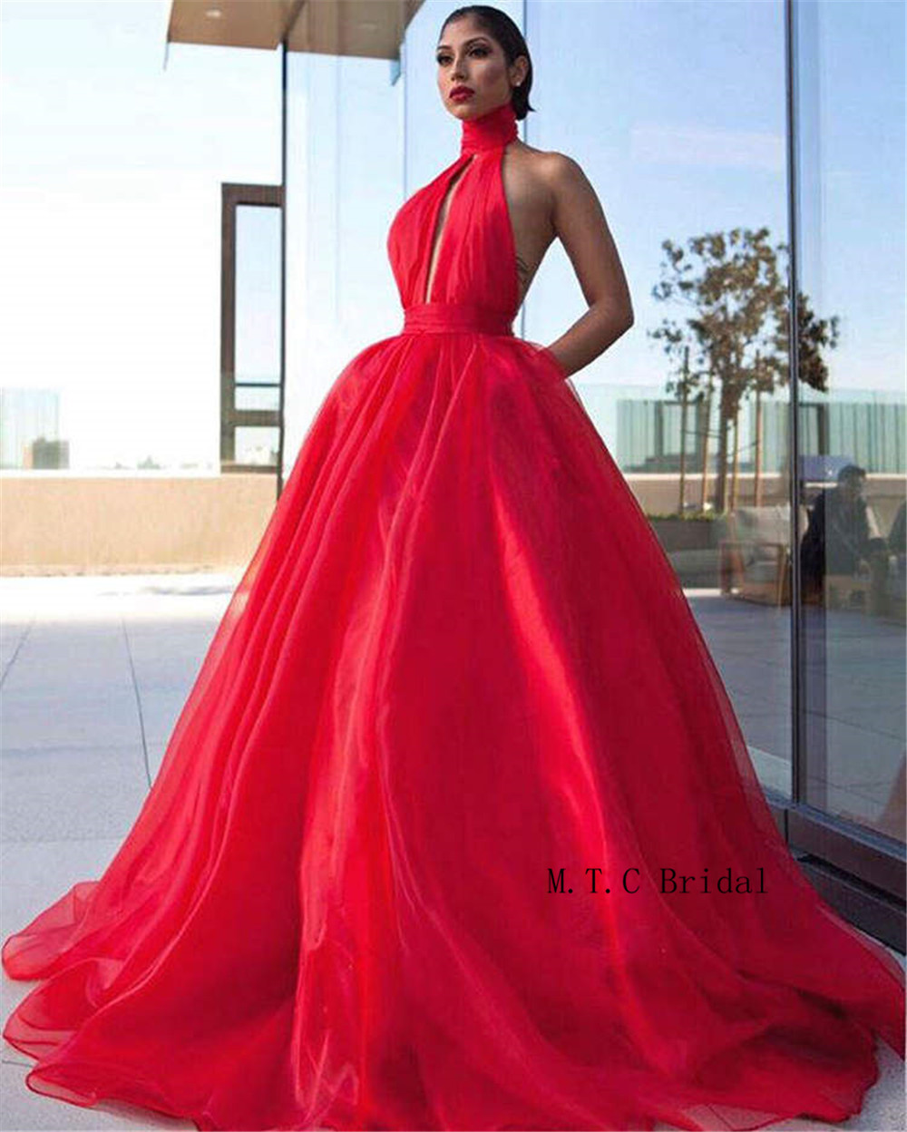 Charming Red Organza Long Evening Dress High Neck Backless A Line Sexy Prom Gowns 2019 Hot