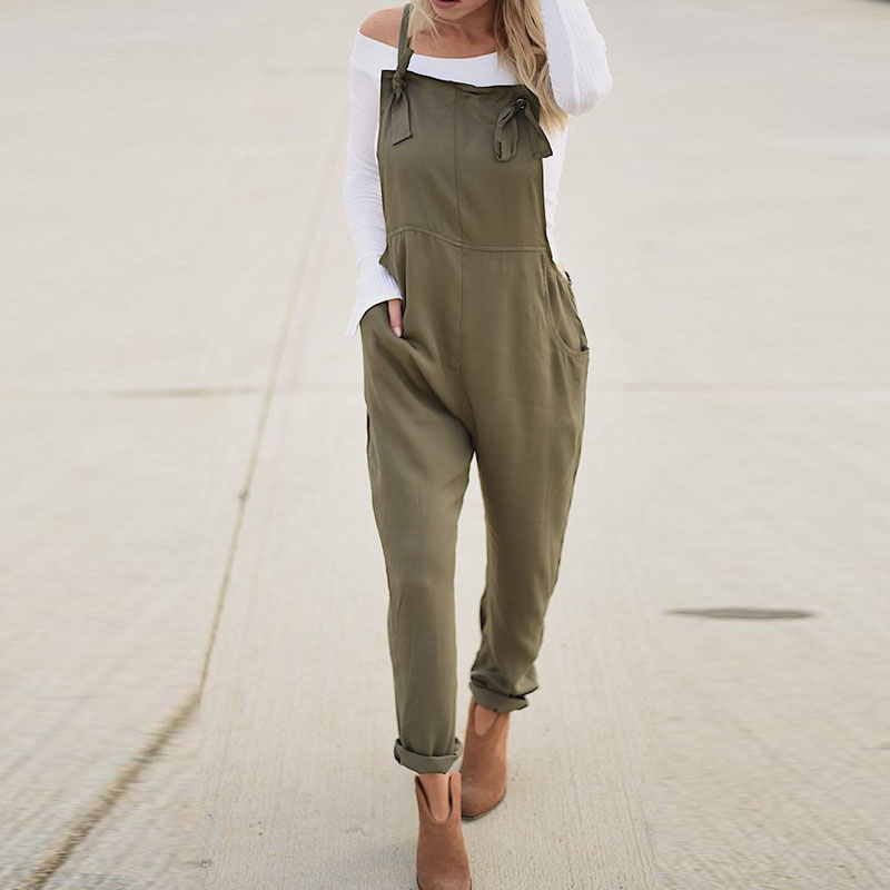 2019 Summer SCHMICKER Women Casual Solid Strappy Sleeveless Long Playsuit   Jumpsuit   Party Turnip Pants Slim Fit Overalls Bodysuit