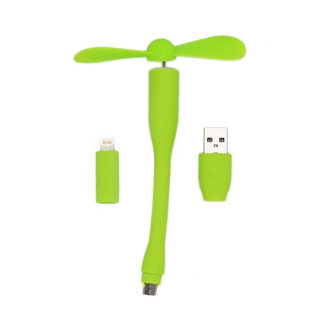 Quạt USB 6 Màu Mini Du Lịch di động Quạt USB Cho iPhone và Laptop USB Dadgets Đa Chức Năng Android 3 trong 1 quạt USB
