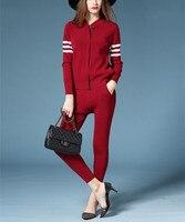 High Quality Cotton Blend Knit Women S Fashion Sweatshirt Suits Zipper Cardigan Haroun Pant 2pcs Set