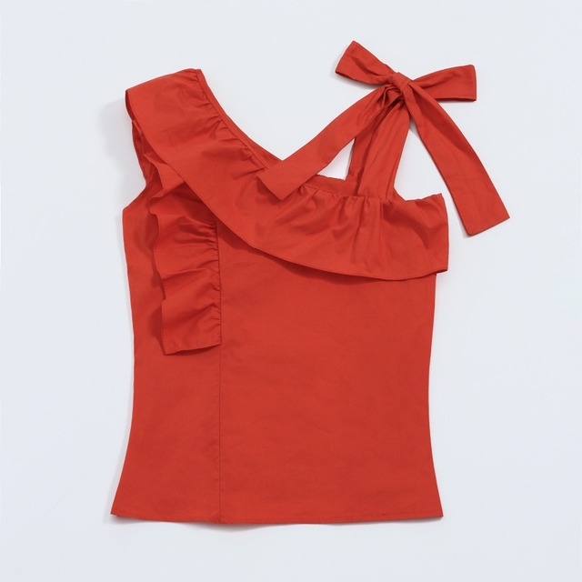 faa6bb07caf56f Summer Clothing Red Short Tops Sweet Tied Bowknot One Shoulder Ruffle  Sleeveless Tank Top Fashion Beach Chic Girl Crop Tops