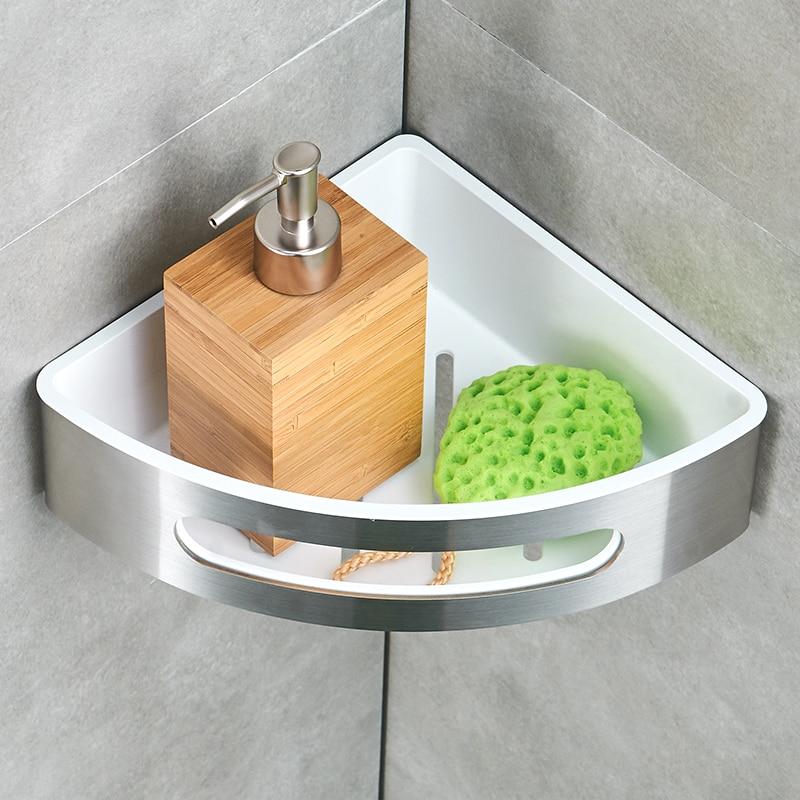 FLG Bathroom Shelf 304 Stainless Steel ABS Plastic Single Tier Bathroom Storage Basket Wall Shelf Bathroom Rack in Bathroom Shelves from Home Improvement