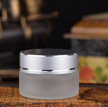 Wholesale 15g Empty Frosted Glass Jars With Silver Ring Cap, 15ml Frosted Skin Care Cream Jars