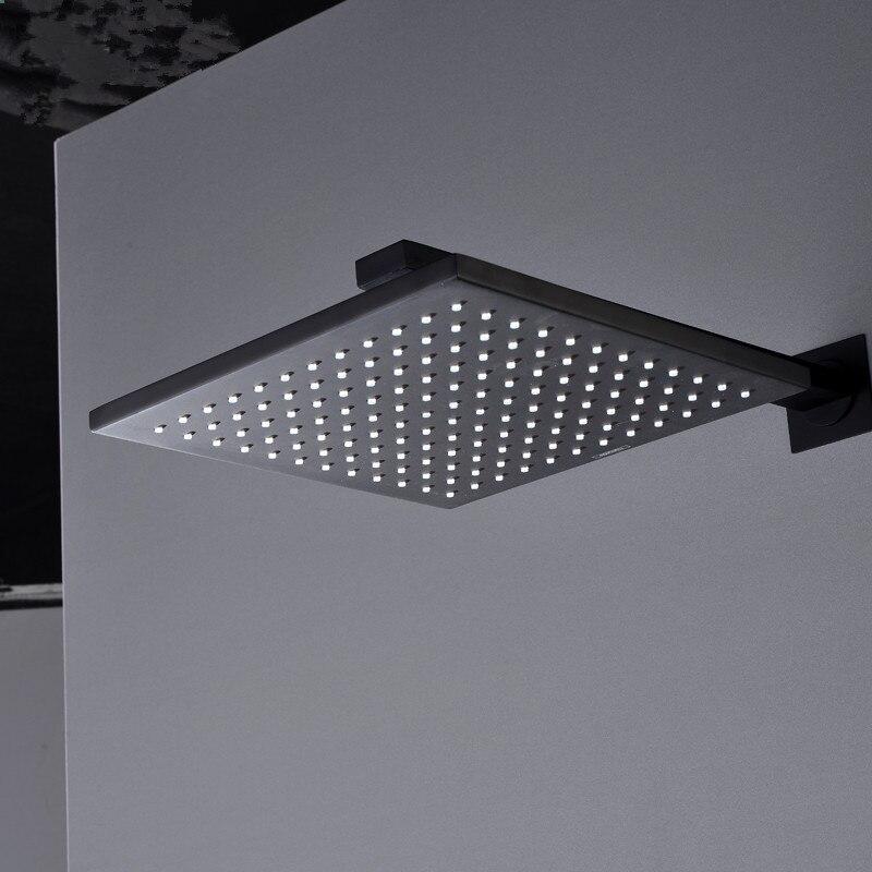 Messing Thermostat Armaturen Schwarz Dusche Set 8 Zoll Bad Regen Dusche Umsteller Hahn Set Mit Kunststoff Handheld Duschkopf