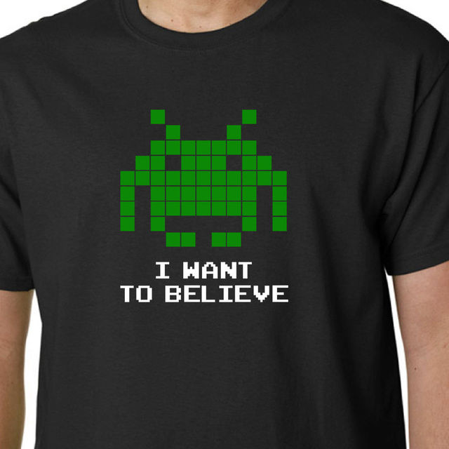 I Want To Believe Space Invaders T Shirt Arcade Sega Game Aliens Ufo