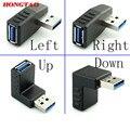 90 grados USB 3.0 A macho a hembra Izquierda y adaptador en ángulo recto del USB 3.0 AM/AF Conector para el ordenador portátil/PC de la Computadora negro