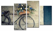 4 Piece Canvas Art Printing Photo Nostalgic bike Painting Custom Print On Wall Pictures Home Decoration