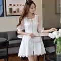 Original Nuevo 2016 Marca de Primavera y Otoño de Encaje Falda de Las Señoras abrigos Blanco Delgado Elegante Casual Largo Foso para Las Mujeres venta al por mayor