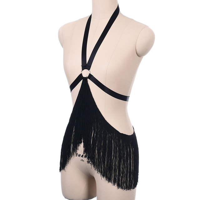 gothic bust harness bra Rave wear