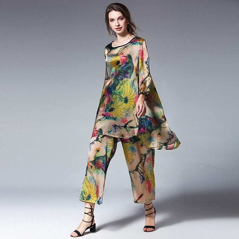 נשים בתוספת גודל מזדמן חליפות loose הדפסת משי לוטוס אלגנטי שתי חתיכה קיץ חדש חולצות ומכנסיים אלסטי מותניים צוות צוואר חליפה