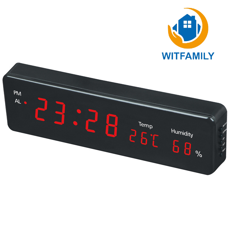 Digital LED Alarm Clock Plug In Luminous Clock Electronic Alarm Clock with Temperature Hygrometer Display Green Blue Red Display