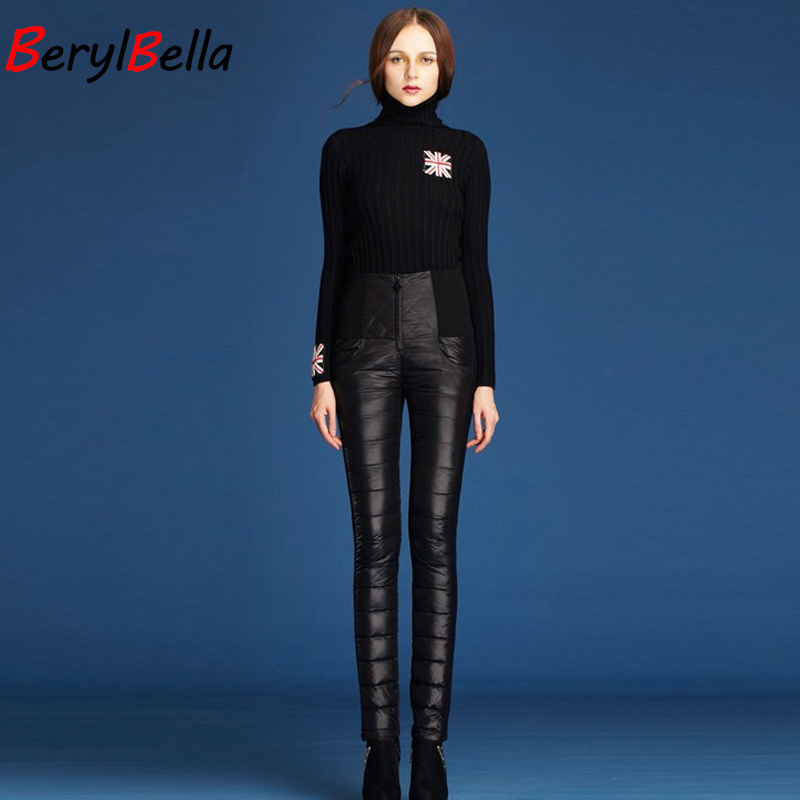 BerylBella Women Formal Pants 2019 Winter High Waist Down Trousers Slim Thick Outer Wear Warm Windproof Down Pants Female