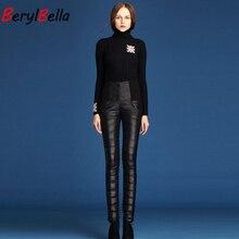 BerylBella mujeres pantalones formales 2019 invierno alta cintura abajo pantalones delgados grueso desgaste exterior cálido a prueba de viento abajo pantalones femeninos