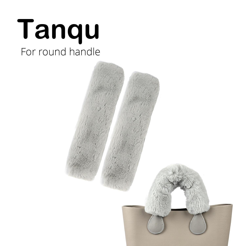 New Tanqu Long Short Fur Hook Loop Fastener Sleeve Cover For Round Leather Handle For O Bag For Obag Women Bag Shoulder Handbag