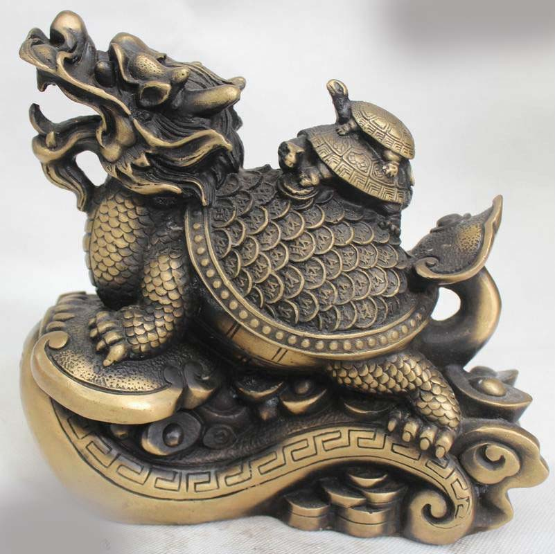 """8""""Chinese Home Fengshui Bronze Wealth Dragon Tortoise Turtle & Baby Statue