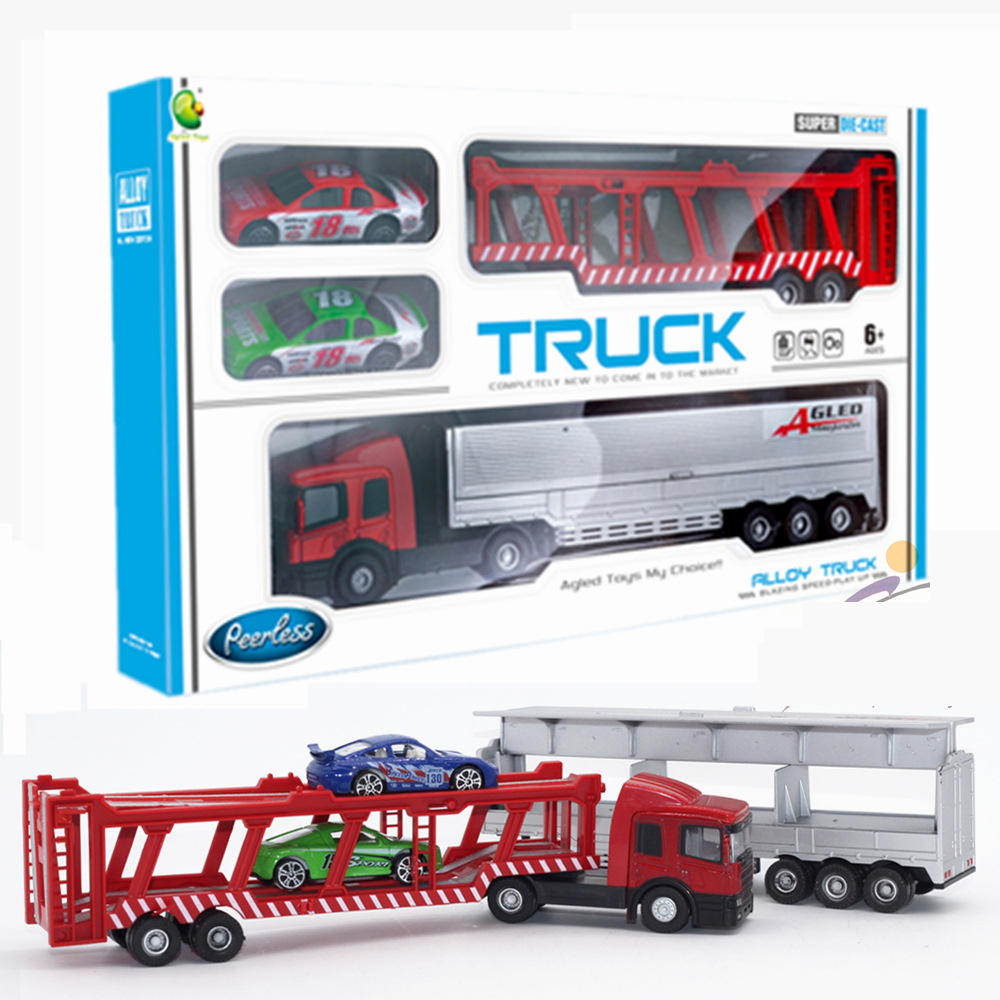Car color kit - High Quality Kids Model Toy Car Kits Gift Plastic Big Container Truck With Small Alloy Car Color Box Luxury Gifts Dinky Toy Mode