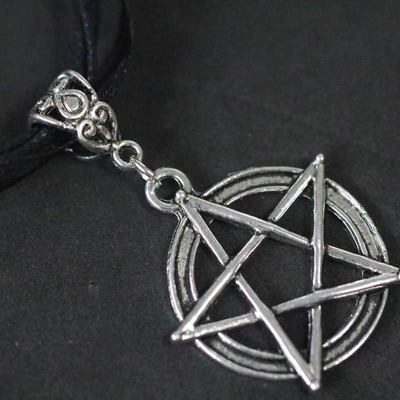 Cadı Pagan Gotik Pentagramı Kolye Vintage Gümüş Pentagram Yıldız Kolye Kolye Gerdanlık Collier Bijoux Şerit Halat Zinciri yeni