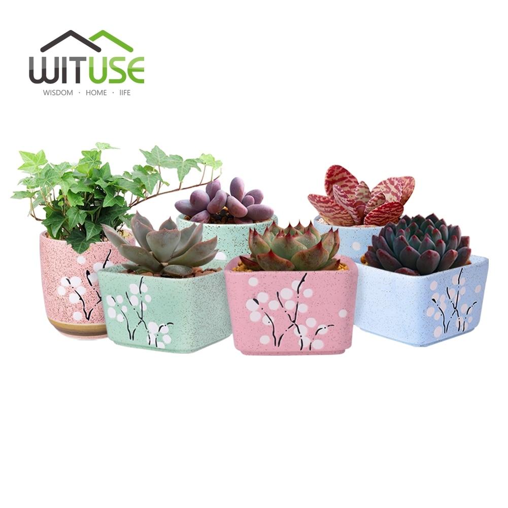 Wituse 6pcs Vintage Mini Ceramic Plum Flower Flowerpots Pinkgreen