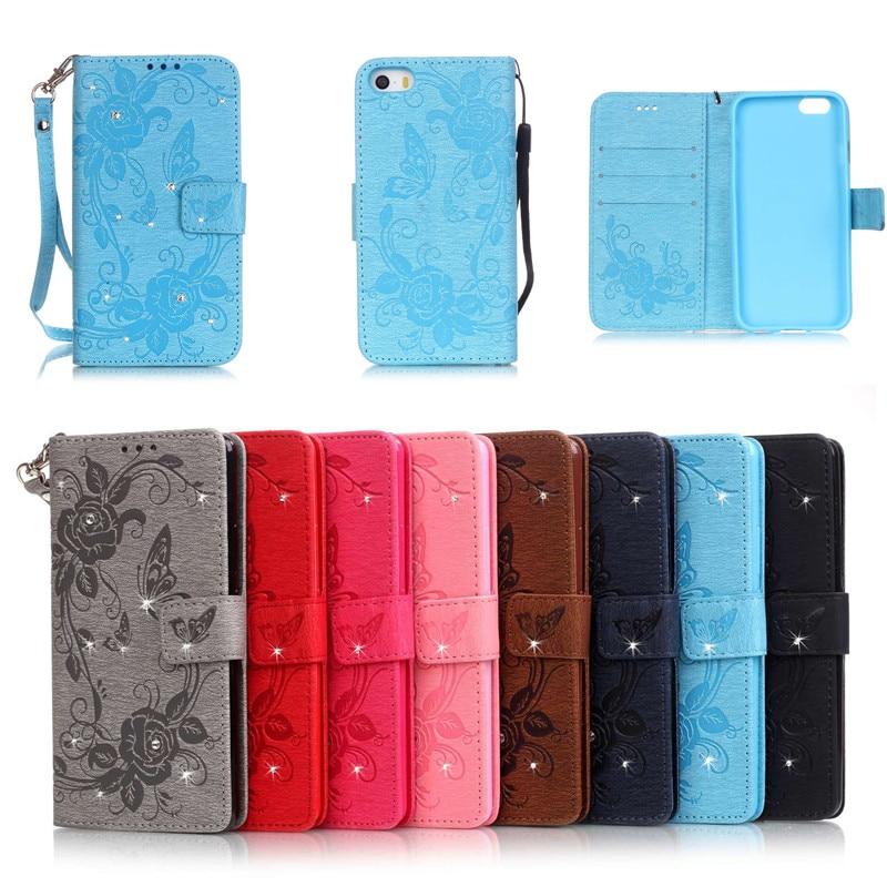 För iPhone 7 7plus Bling Plånbok Flip PU Läderfodral För iPhone 7 - Reservdelar och tillbehör för mobiltelefoner