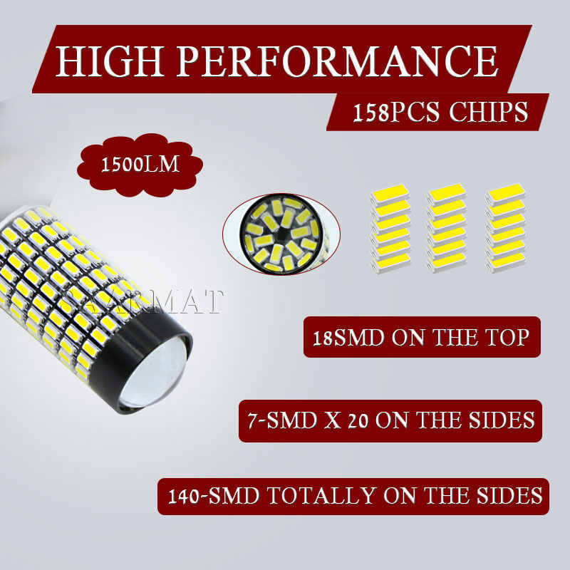 2PCS White 158-smd 9006 HB4 LED Bulbs For Fog Light DRL For BMW E60 E63 E64 M3 (E46) 2002-2005 BMW 5 Series (E60) 2003-