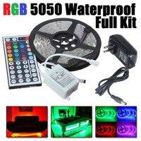 סט קלטת led רצועת אור 5050 RGB עמיד למים ip65 300led 5 m עם שלט רחוק 44key 12 V אספקת חשמל מתאם צבע שינוי