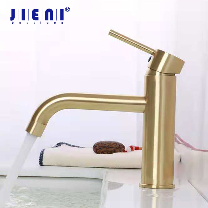 купить JIENI Golden Nickel Brush Bathroom Faucet Vesssel Sink Basin faucet Mixer Tap Single Handle Lavatory Faucets Cold Hot Water Taps по цене 4283.16 рублей