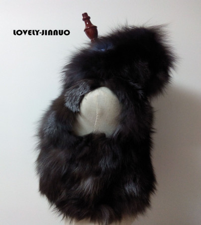 The New listing Real silver fox fur vest with big hood waistcoat in fashion jacket coat