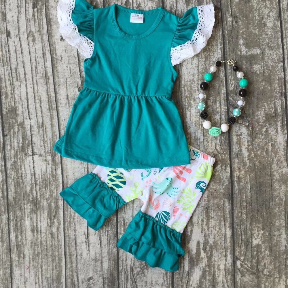 summer baby girls kids wear boutique clothes ruffles shorts submarine world jade lace octopus print cotton matching accessories baby kids baseball season clothes baby girls love baseball clothing girls summer boutique baseball outfits with accessories