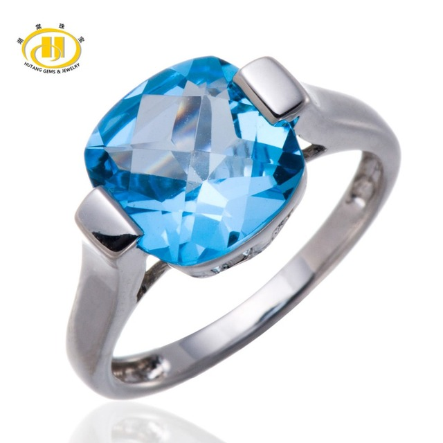 Hutang Cushion 10mm Blue Topaz Solid 925 Sterling Silver Solitaire Ring sterling-silver Gemstone Women's Fine Jewelry
