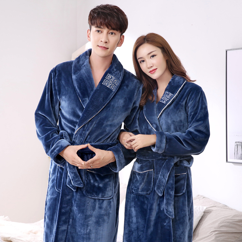 Lovers robe winter thickening coral fleece thermal bathrobe male flannel womens ultra long sexy sleepwear ...