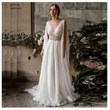 Женское шифоновое платье без рукавов длинное свадебное со шлейфом